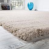 Tapis Salon Micro Polyester Shaggy Élégant Résistant Haut Poil Long Beige Clair, Dimension:120x170 cm