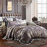 Man · life Europäischen Stil Baumwolle Satin Jacquard Bettwäsche Set Schlafzimmer Luxus Königin Größe Duvet Set 4 Stücke 1 Bettbezug, 1 Bettwäsche, 2 Kissenbezüge, B, 200X230Cm