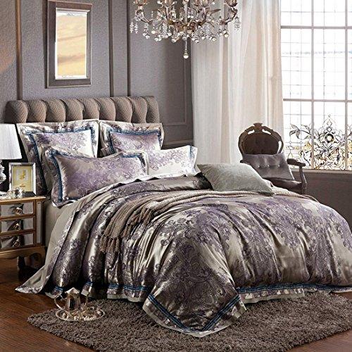 Man · life Europäischen Stil Baumwolle Satin Jacquard Bettwäsche Set Schlafzimmer Luxus Königin Größe Duvet Set 4 Stücke 1 Bettbezug, 1 Bettwäsche, 2 Kissenbezüge, B, 220X240Cm -