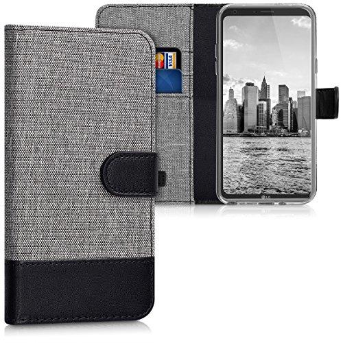 kwmobile LG Q6 / Q6+ Hülle - Kunstleder Wallet Case für LG Q6 / Q6+ mit Kartenfächern und Stand