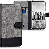 kwmobile Hülle für LG Q6 - Wallet Case Handy Schutzhülle Kunstleder - Handycover Klapphülle mit Kartenfach und Ständer Grau Schwarz