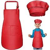 WEONE Niños Delantal y Gorro de Cocinero, Ajustable Delantal Infantil con 2 Bolsillos para Niños Niñas, Niñito Delantales de