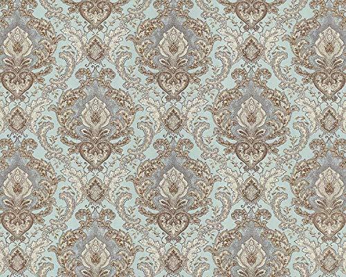 Barock Tapete EDEM 9063-39 Vliestapete geprägt mit Ornamenten glänzend türkis creme-weiß silber...