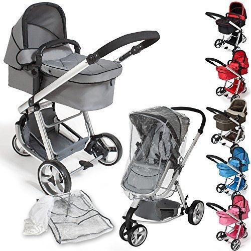 TecTake 3 in 1 Kinderwagen Kombikinderwagen Buggy Babyjogger Reisebuggy Sportwagen Kids -diverse Farben- (Grau)