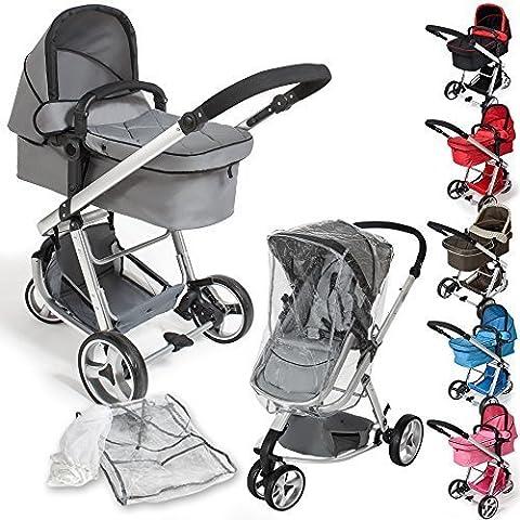 TecTake 3 en 1 Sillas de paseo coches carritos para bebes convertible - disponible en diferentes colores - (Gris   no. 400829)