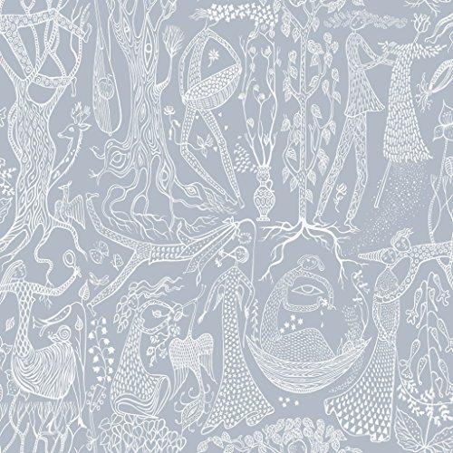 Stig Lindberg 1765 Vliestapete romantisches Motiv Menschen Tiere Natur weiß auf blaugrau