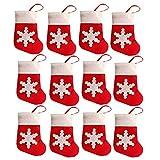 Gemini_ Mall, set da 12 decorazioni natalizie da tavola a forma di calze rosse di Babbo Natale, porta posate o sacchetto porta caramelle