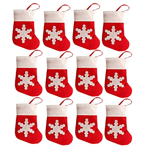 San Bodhi® 12Pcs Mini Christmas Sock Cutlery Holders Fork Knife Bags Tableware Decorations