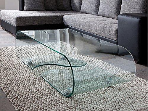 Glastisch Couchtisch auf Rollen, Länge 90 cm, Glasdesign -
