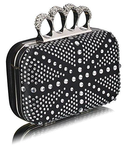 TrendStar Wulstige Clutch Taschen Damen Kasten Diamante Abend Handtaschen Damen Hochzeitsfest Neu Taschen B - Schwarz/Silber