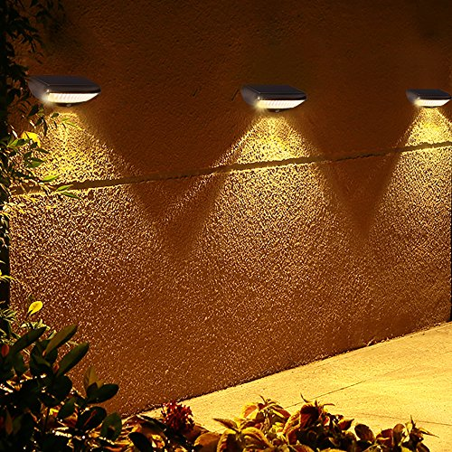 Solarleuchten 36 LED Garten Solarlampe Sicherheit Bewegungsmelder Solar Licht Außen Wasserdichte Wandleuchte Für BalkonZaun, Patio, Deck, Hof, Gehweg,Wege, Auffahrt, Treppe, Außenwand 4 Modi 4400mAh(Warmes Licht)