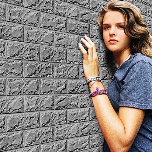 3D Tapete DIY Btruely Neu PE Schaum Wandaufkleber Mauer Dekor Geprägt Ziegel Stein Wall Stickers (Grau)