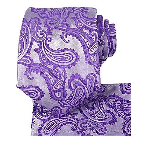 KissTies Mens Tie Set: Paisley Necktie + Hanky Pocket Square, Lavender