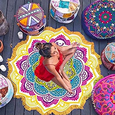 JIASTONE Mandala Round Lotus Beach Throw Tapestry Blanket Rug Hippy Boho Gypsy Tablecloth Beach Towel, Round Yoga Mat--Diameter 150cm - low-cost UK light shop.