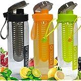 Steelo Set Of 3 - Fruit Infuser Water Bottle,Pack Of 3,750 Ml