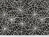 ab 1m: Nylon beflockt, Spinnennetz, schwarz-weiß, 145cm breit