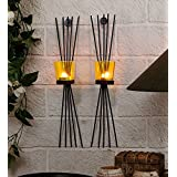 Collectible India Set Of 2 Iron Black Wall Sconce Glass Cup Candle Holder | Wall Hanging Tealight Candle Holder For Home Living Room Bedroom Birthday Party Wall Decoration