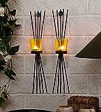 Craftvatika set di 2Black Iron portacandele da parete, | portacandele. Lampada per home soggiorno parete decorazione natalizia