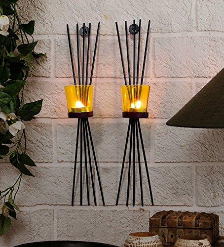 craftvatika Set von 2Eisen Wandleuchter Kerzenhalter Teelichthalter zum Aufhängen,   Lampe für Home Wohnzimmer Weihnachten Neues Jahr Wand Dekoration