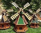 Klassik-Design WETTERFEST-Windmühle BTV-Ölbaum MASSIV & ROBUST, WWMB100ro+bl-EOS ,Windmühlen ohne / mit Solarbeleuchtung Licht 1 m groß rot blau