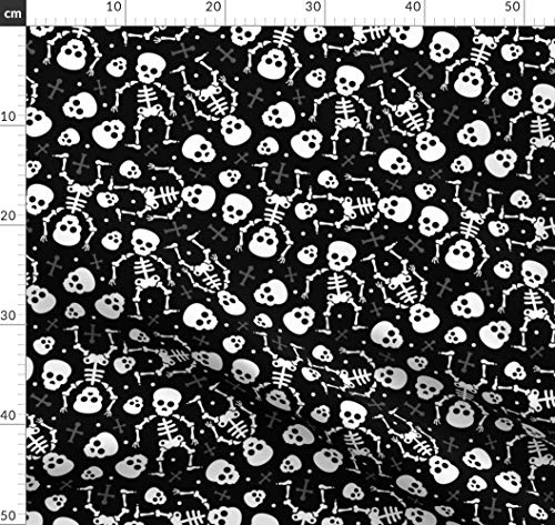 Totenkopf, Halloween, Skelett, Gruselig, Gespenstisch, Horror Stoffe - Individuell Bedruckt von Spoonflower - Design von Littlesmilemakers Gedruckt auf Fleece