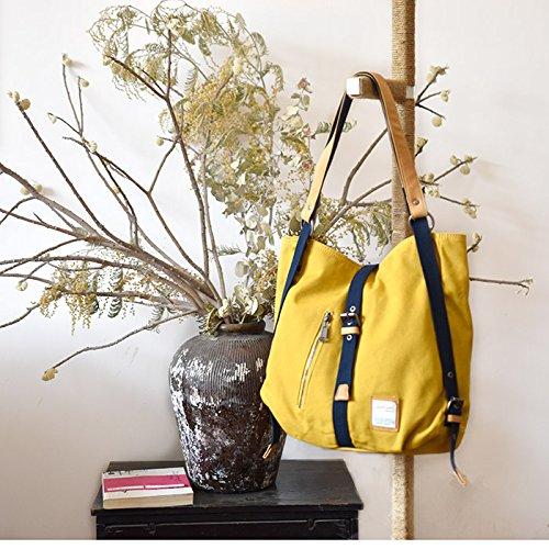 &ZHOU femminile borsa di tela borsa a tracolla grande capacità zaino Messenger Messenger bag di svago di modo 37 * 10 * 38 cm , black Yellow