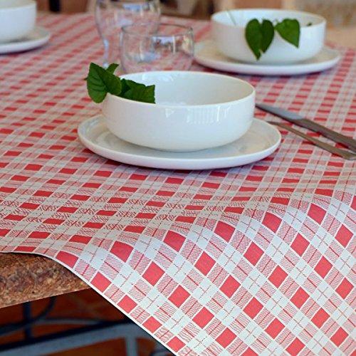 Chiner Rouleau de nappe en papier à carreaux 1 x 100 m, rouge, 1