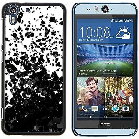 For HTC Desire Eye / M910X Case , Millones de cubos oscuras dispersas - Diseño Patrón Teléfono Caso Cubierta Case Bumper Duro Protección Case Cover Funda