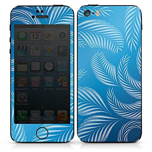 Apple iPhone 5s Case Skin Sticker aus Vinyl-Folie Aufkleber Palmen Blätter Blau DesignSkins® glänzend