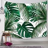 Morbuy Kreativ Tapisserie Kaktus, Grünes Blatt Dekor Wandteppich Tapestry Wandbehang aus Polyster Wandtuch Tischdecke Meditation Strandtuch Yogamatte (Groß (150 x 200cm), Dunkelgrüne Blätter)