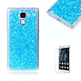 For Huawei Honor 7 Case Cover [with Free Screen Protector], Funyye Fashionable Lovely and Sparkly Designer Shockproof Shock Absorber Soft Rubber Gel TPU Protective Case Cover Skin Shell for Huawei Honor 7- blue