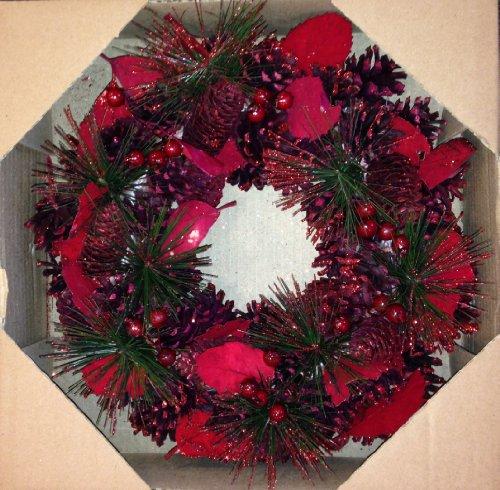 hundeinfo24.de Weihnachten rot Kranz Woodland Thema Med Größe (30cm Durchmesser) mit Rot Zapfen, roten Beeren, Kiefer Nadeln und schön verarbeitete rot Blätter
