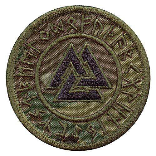 Multicam Valknut Viking Norse Runic Heathen Pagan Odin God Rune Morale Taktisch Tactical Fastener Aufnäher Patch (Uniform Camo Bdu Woodland)
