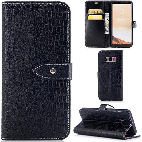 Ooboom® Samsung Galaxy S8 Hülle Luxus Krokodil Haut Muster PU Leder Flip Cover Case Handy Tasche Brieftasche für Samsung Galaxy S8 - Schwarz