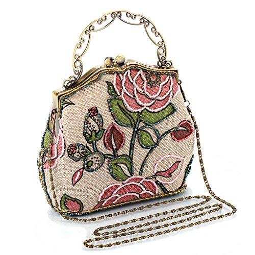 ERGEOB® Beaded Damen Handtasche Perlen Clutch retro alten Shanghai passt cheongsam Pink