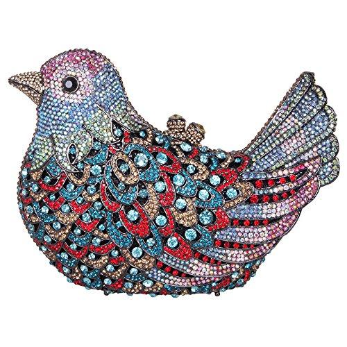 Bonjanvye Glitter Rhinestone Bird Clutch Purses Evening Clutch Bag for Girls Rose Gold navy blue