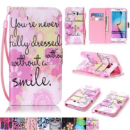 Galaxy S6Edge Fall, firefish [Standfuß] Folio Style Wallet Case Stoßfest PU Leder mit Magnetverschluss Handschlaufe für Samsung Galaxy S6Edge, Pink Smile Pink Unlocked Cell Phones