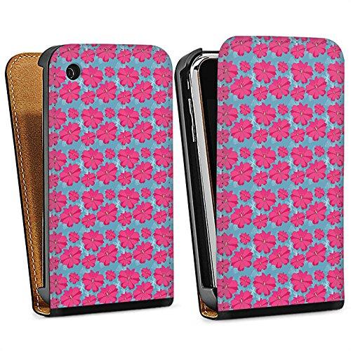 Apple iPhone 6 Housse Étui Silicone Coque Protection Fleurs Fleurs Rose vif Sac Downflip noir