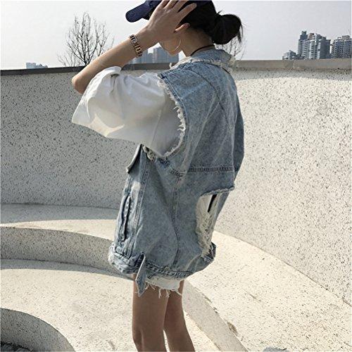 Frauen Art und Weise kühle lose beiläufige Ripped Löcher sehen Sie zurück durch Netz Stitching Denim-Weste B