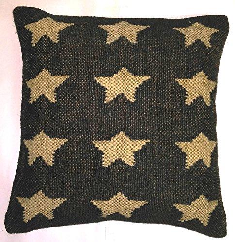 Fait à la main Kilim Indien Taie d'oreiller 16 X 16, coussins d'extérieur, Boho Couvre-lit, Taie d'oreiller Extérieur Housse de coussin en jute, couvertures oreiller décoratif