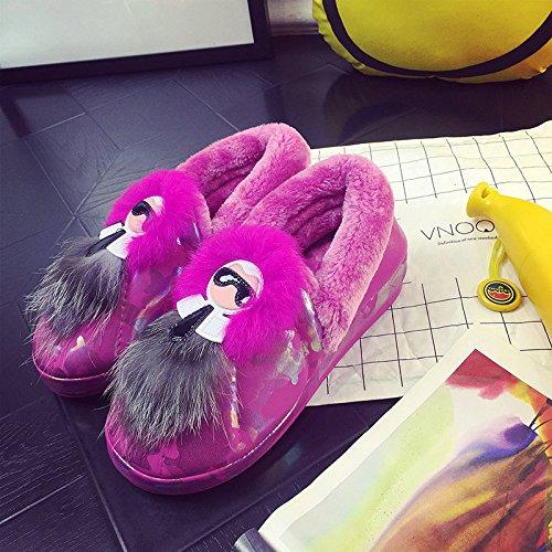Inverno fankou pantofole di cotone femmina scarpe caldo con non - slittamento di spessore home a casa carino scarpe scamosciate inverno Rosa