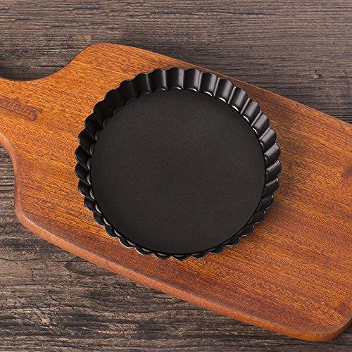JIAJU Backen, Formen, Chrysantheme Pie Pan, Antihaft-Pizza Pfanne Anode, 6 Zoll, 8 Zoll, 10 Zoll, 11 Zoll Pizzablech verteilen, Black 8 inch