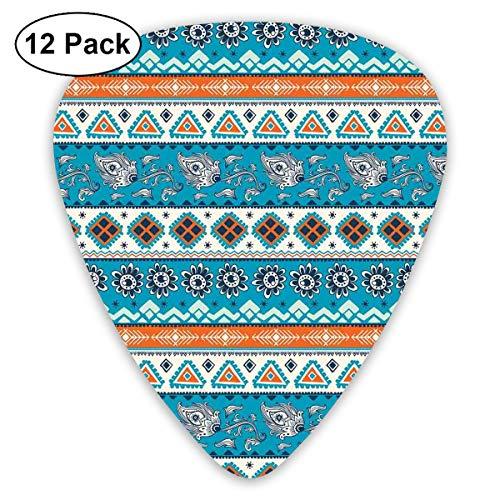 Print Tulip Rock (Guitar Picks12pcs Plectrum (0.46mm-0.96mm), Aztec Ethnic Print With Persian Tulips Floral Spring Season Bohemian Art,For Your Guitar or Ukulele)