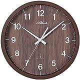 Atlanta 4438/20, klassische Funk-Wanduhr aus Kunststoff in Holzoptik mit Sekundenzeiger und arabischen Zahlen, analoge Zeitanzeige, Durchmesser 30,5cm