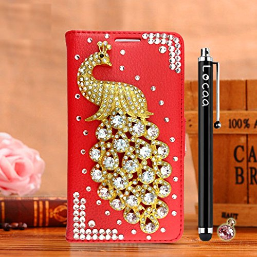 Locaa(TM) For Apple IPhone SE IPhoneSE 5SE 3D Bling Paon Case Fait filles Main Cuir Qualité Housse Chocs Retour Bumper Cases Cas Couverture Protection Cover Shell [Série Paon 2] Violet - Paon Perle Rouge - Paon Blanc