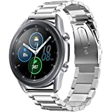 accessoryME Band Compatible with Samsung Galaxy Watch 3 45mm , Stainless Steel Quick Release Watch Band Metal Strap (Silver)
