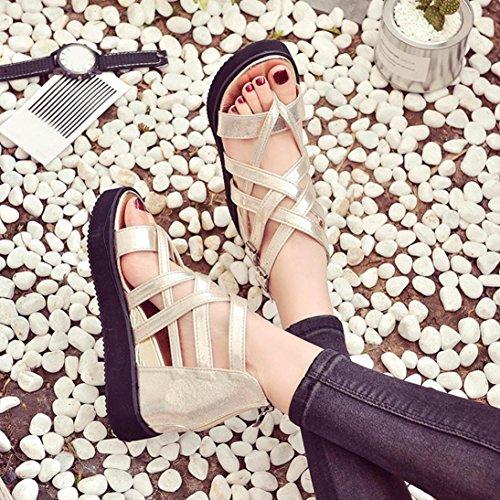 Amlaiworld Donna Sandali estivi scarpe peep-toe tacco basso scarpe oro