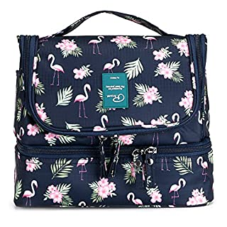 IGNPION Double Layer Make up Cosmetic Bag Unisex Travel Toiletry Wash Bag Waterproof Bathroom Organiser with Hanging Hook - Separate Space Design for Wet and Dry (Flamingo Pattern)