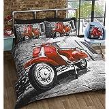 Diseño de patinete rojo colcha para cama tamaño grande juego de funda nórdica y funda de almohada juego de cama 2 x
