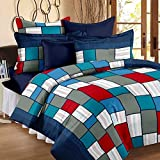 #9: Story@Home 100% Cotton Bed Sheet for Double Bed with 2 Pillow Covers Set, Candy Queen Size Bedsheet Series, 120 TC, Geometric Checkered Pattern, Blue and Red